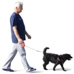 Cut out Elderly Walking The Dog 0001 | MrCutout.com