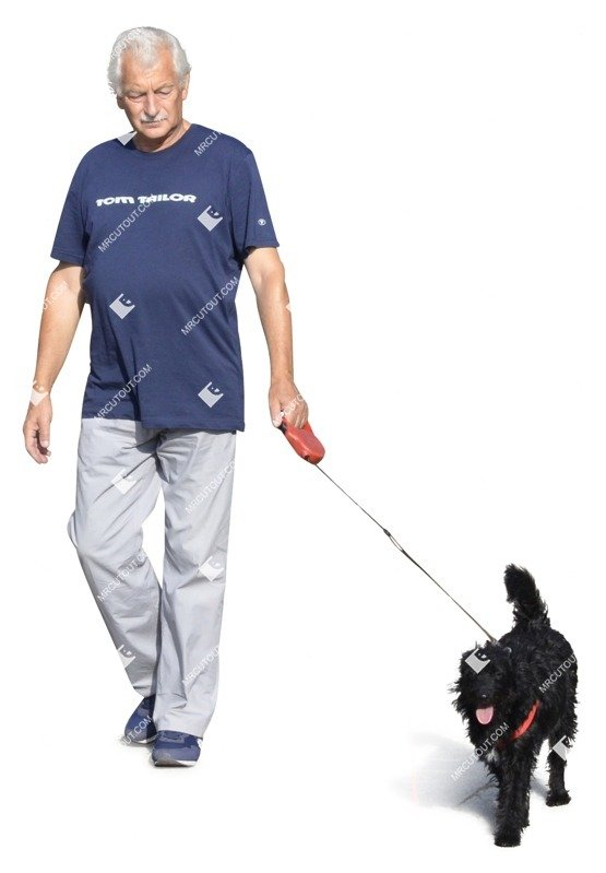 Cut out Elderly Walking The Dog 0002