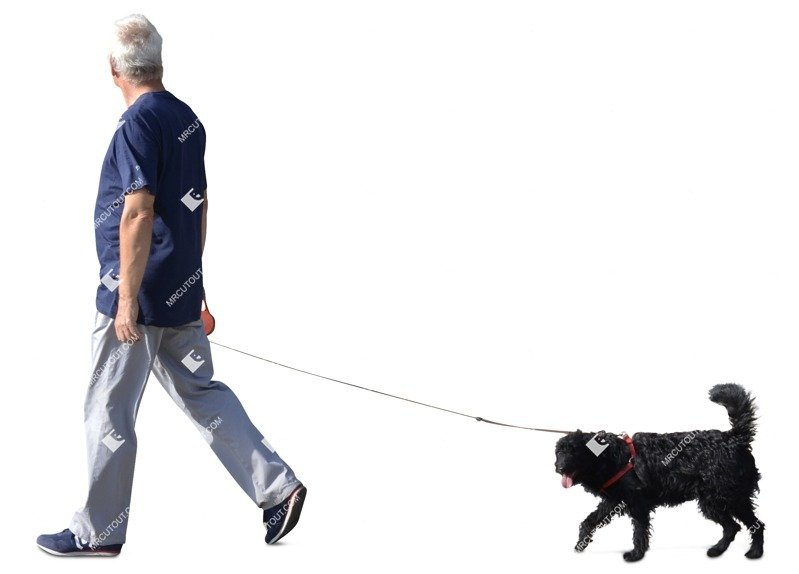 Cut out Elderly Walking The Dog 0005 preview