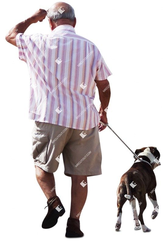 Cut out Elderly Walking The Dog 0006 preview