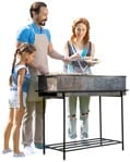 Cutout family doing barbecue human png standing behind the grill | MrCutout.com