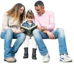 Cut out people - Family Reading A Book Sitting 0007 | MrCutout.com