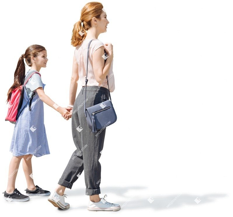 Cut out people - Family Walking 0043
