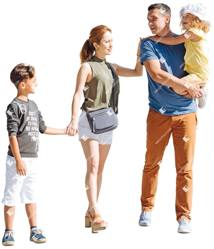 Cut out people - Family Walking 0059 preview