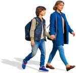Cut out people - Family Walking 0064 | MrCutout.com