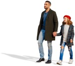 Cut out people - Family Walking 0073 | MrCutout.com