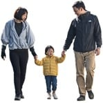 Cut out people - Family Walking 0080 | MrCutout.com