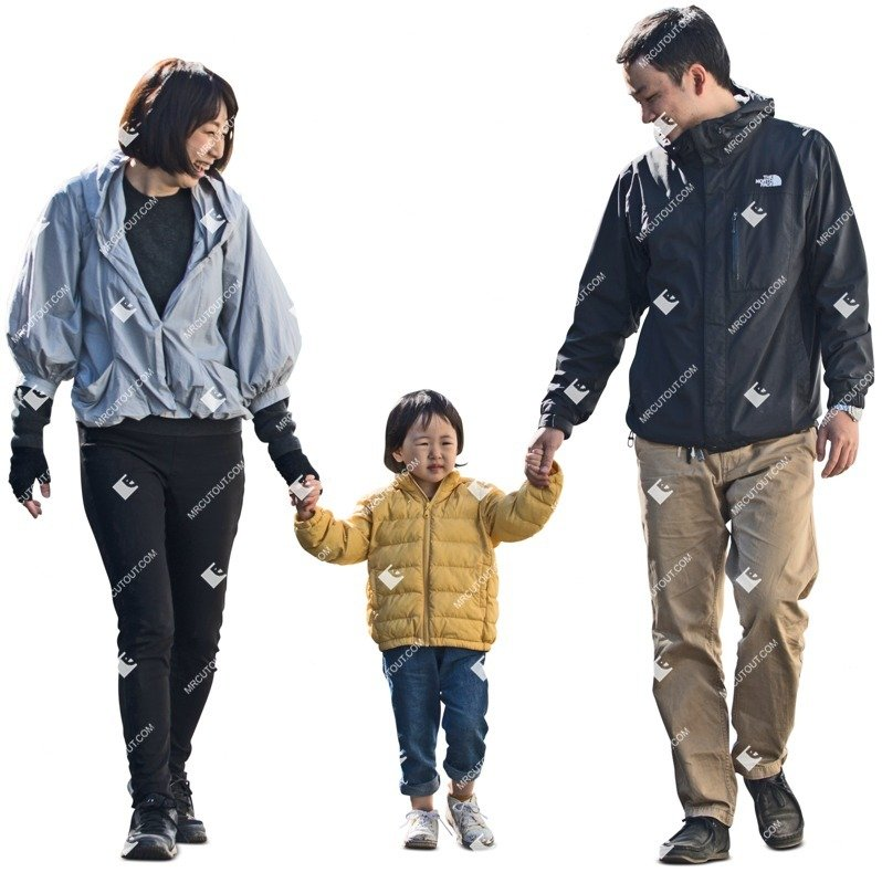 Cut out people - Family Walking 0080 preview