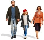 Cut out people - Family Walking 0093 | MrCutout.com