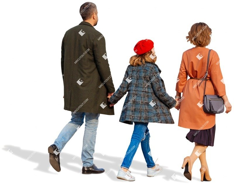 Cut out people - Family Walking 0096 preview