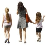 Family walking, a mother with two daughters cutout - human png | MrCutout.com