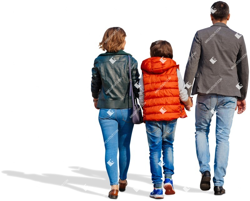 Cut out people - Family Walking 0123 preview