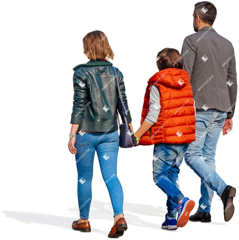 Cut out people - Family Walking 0124 preview
