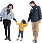 Cut out people - Family Walking 0149 | MrCutout.com