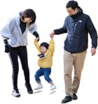 Cut out people - Family Walking 0150 | MrCutout.com