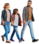Cut out people - Family Walking 0151 | MrCutout.com