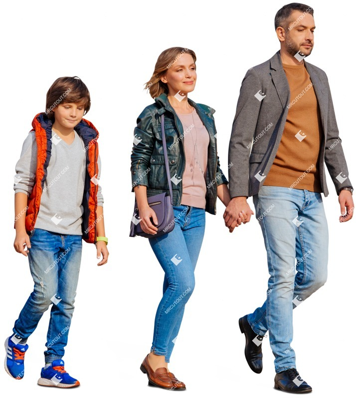 Cut out people - Family Walking 0154 preview