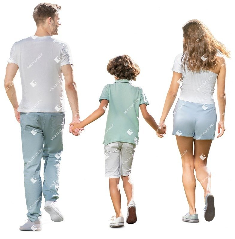 Cut out people - Family Walking 0185