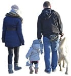 Cut out Family Walking The Dog 0001 | MrCutout.com