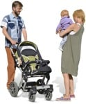 Cut out people - Family With A Stroller Standing 0002 | MrCutout.com