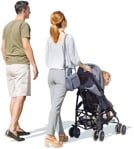 Family walking with a stroller on a sunny day - people png| MrCutout | MrCutout.com