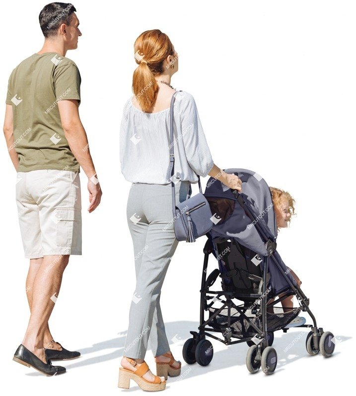 Cut out people - Family With A Stroller Walking 0002 preview