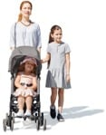 Cut out people - Family With A Stroller Walking 0004 | MrCutout.com