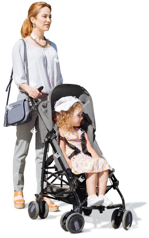 Cut out people - Family With A Stroller Walking 0005 preview