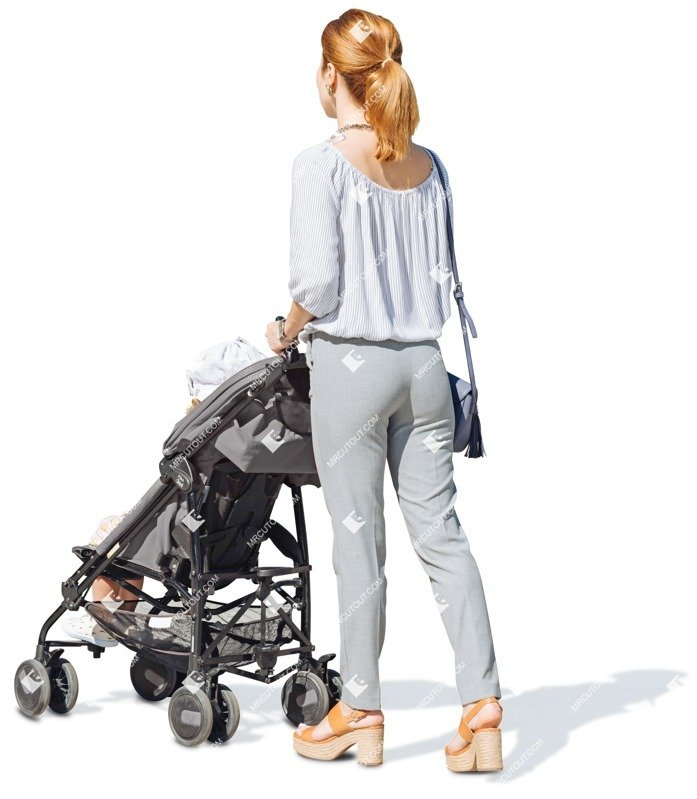 Cut out people - Family With A Stroller Walking 0006 preview