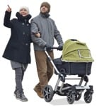 Cut out people - Family With A Stroller Walking 0007 | MrCutout.com