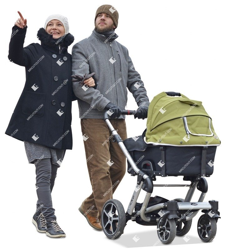 Cut out people - Family With A Stroller Walking 0007 preview