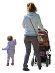 Cut out people - Family With A Stroller Walking 0008 | MrCutout.com