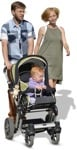 Cut out people - Family With A Stroller Walking 0017 | MrCutout.com