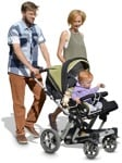 Cut out people - Family With A Stroller Walking 0021 | MrCutout.com