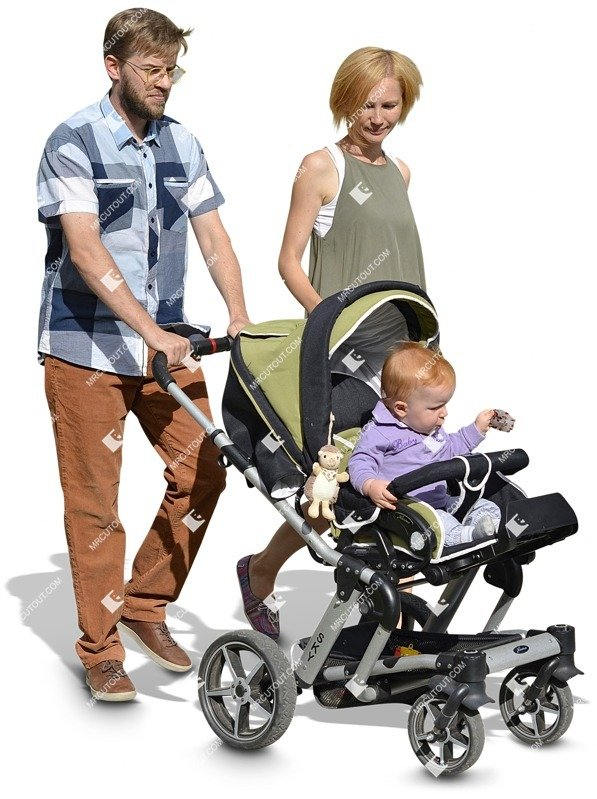 Cut out people - Family With A Stroller Walking 0021 preview