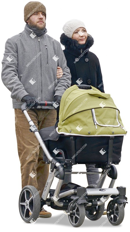 Cut out people - Family With A Stroller Walking 0026 preview