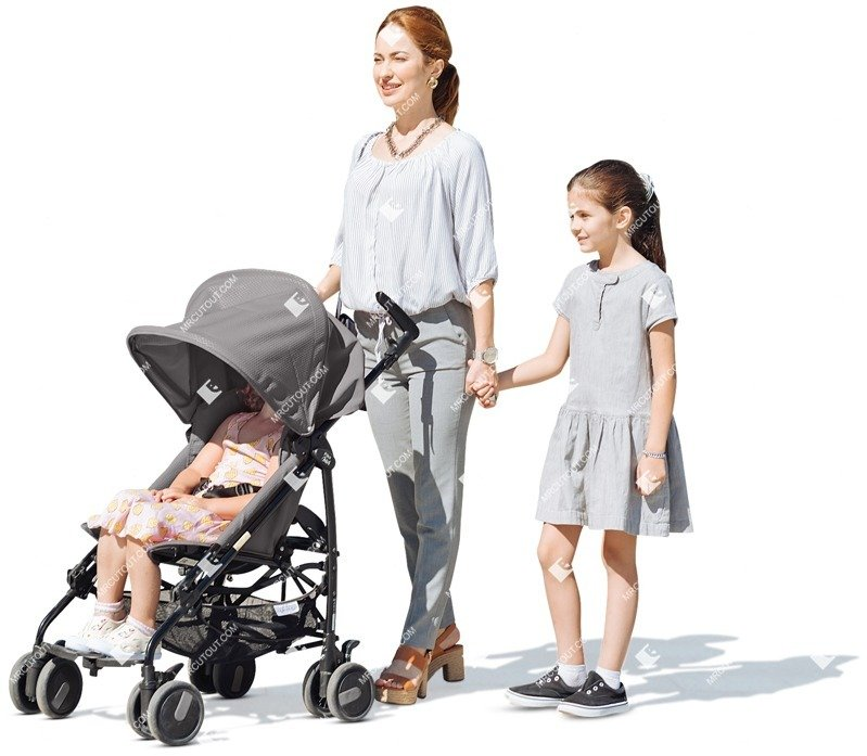 Cut out people - Family With A Stroller Walking 0027 preview