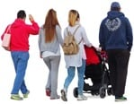 Cut out people - Family With A Stroller Walking 0030 | MrCutout.com