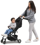 Cut out people - Family With A Stroller Walking 0039 | MrCutout.com