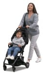 Cut out people - Family With A Stroller Walking 0040 | MrCutout.com