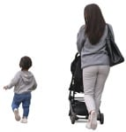 Cut out people - Family With A Stroller Walking 0042 | MrCutout.com