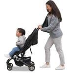 Cut out people - Family With A Stroller Walking 0043 | MrCutout.com