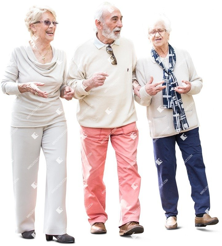 Cut out people - Group Of Elderly People Walking 0003 preview