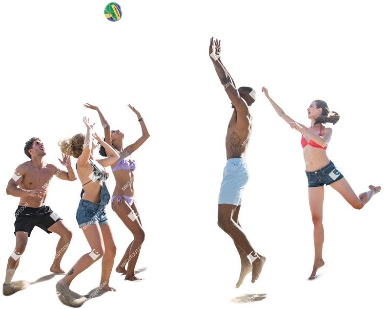Cut out people - Group Of Friends Playing Volleyball 0001 preview