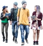 Cut out people - Group Of Friends Reading A Book Walking 0001 | MrCutout.com
