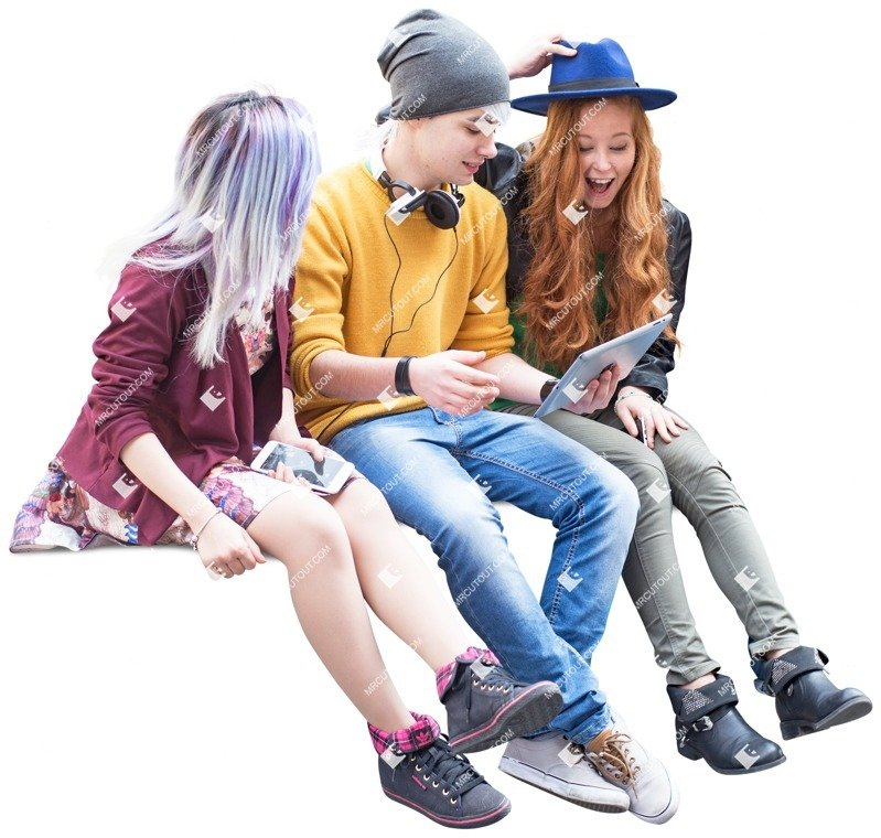 Cut out people - Group Of Friends Sitting 0004 preview
