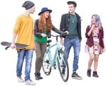 Cut out people - Group Of Friends With A Skateboard Cycling 0001 | MrCutout.com