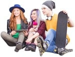 Cut out people - Group Of Friends With A Skateboard Sitting 0002 | MrCutout.com