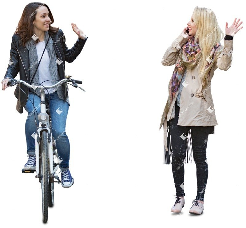 Cut out people - Group Of Friends With A Smartphone Cycling 0002 preview
