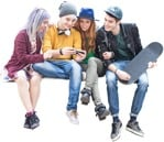 Cut out people - Group Of Friends With A Smartphone Sitting 0002 | MrCutout.com